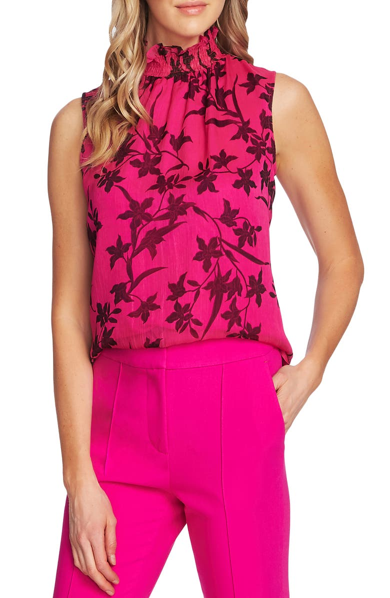VINCE CAMUTO Smock Neck Sleeveless Top, Main, color, PINK SHOCK