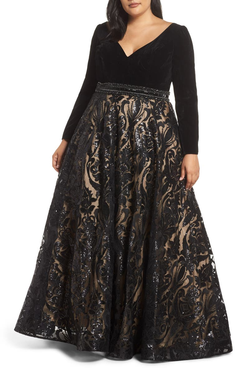 MAC DUGGAL Velvet & Sequin Jacquard Ballgown, Main, color, BLACK/ NUDE