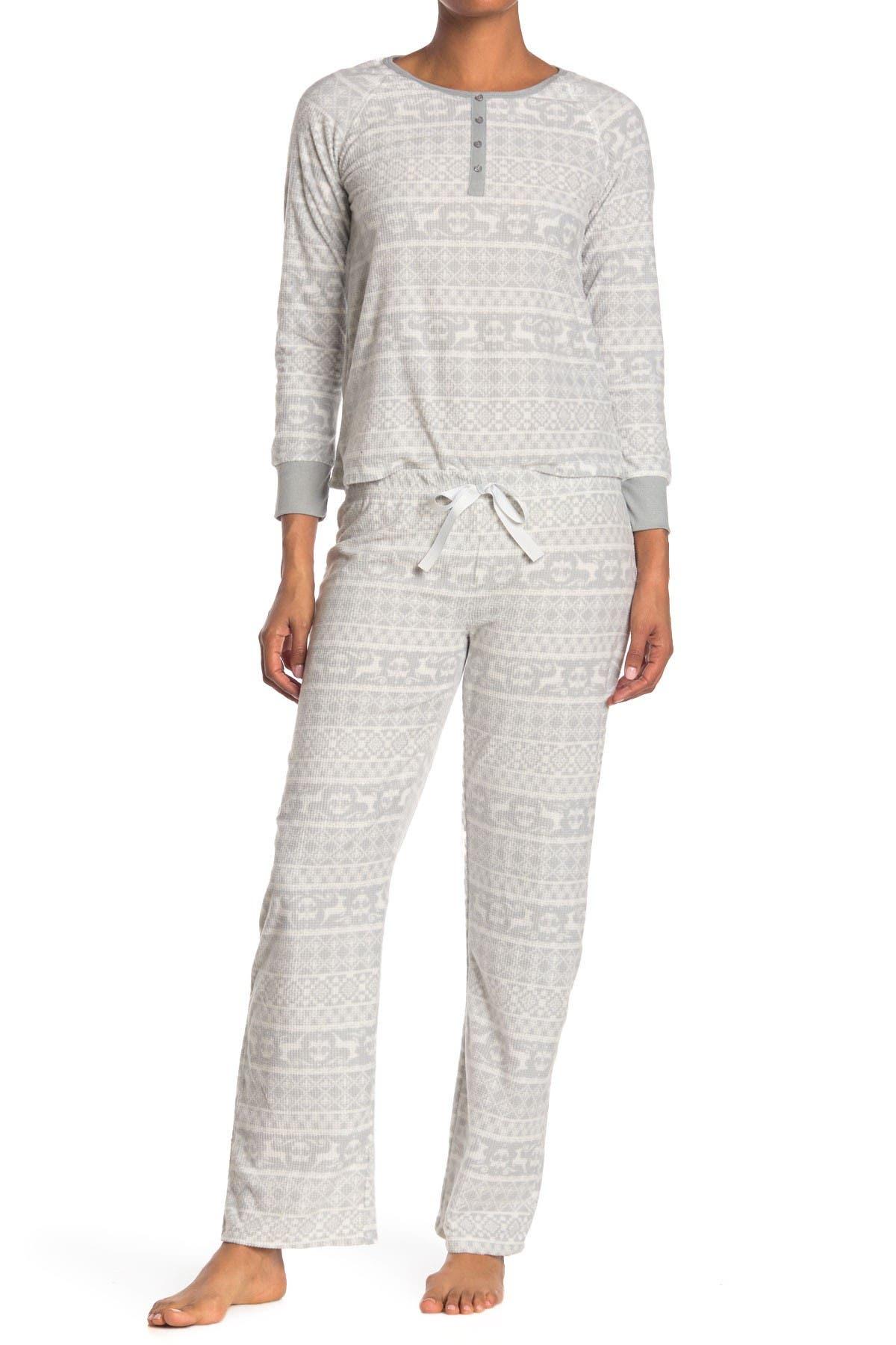 Image of Kathy Ireland Waffle Knit Fair Isle 2-Piece Pajama Set