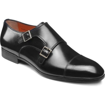 Santoni Inca Double Monk Strap Shoe, Black