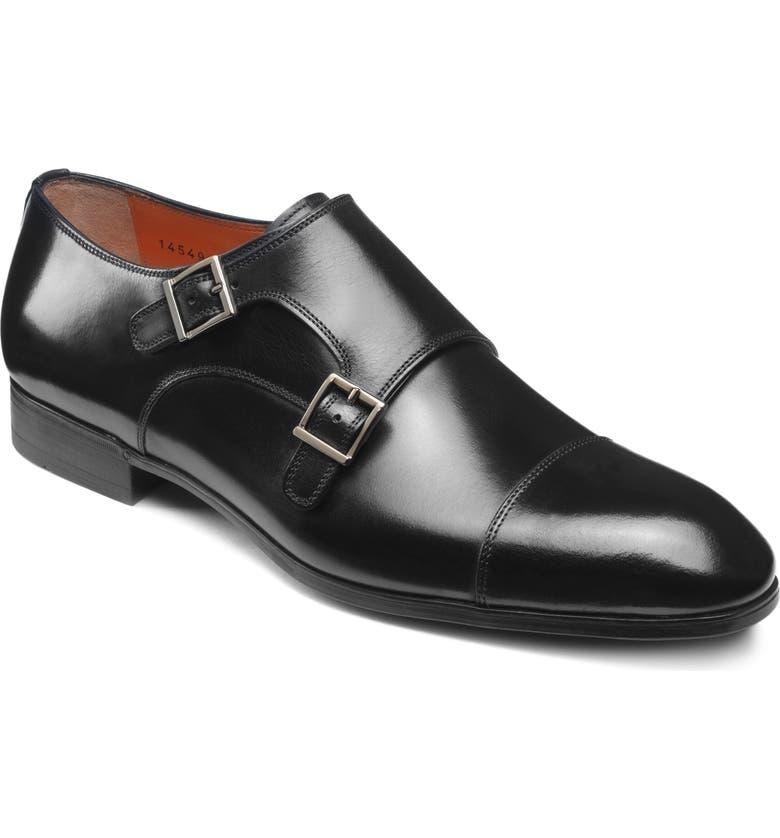 SANTONI Inca Double Monk Strap Shoe, Main, color, BLACK