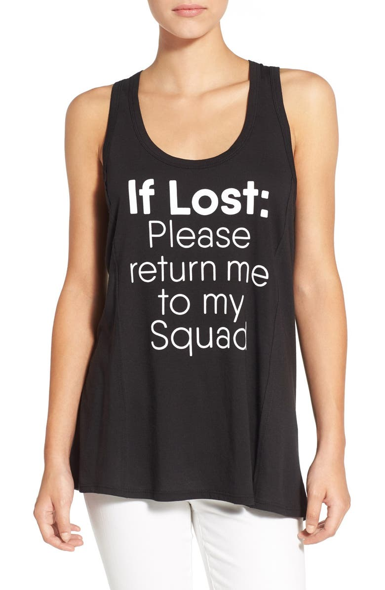 TEN SIXTY SHERMAN 'If Lost' Graphic Tank, Main, color, BLACK