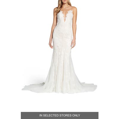 Ines By Ines Di Santo Daisy Illusion V-Neck Gown, Size IN STORE ONLY - Ivory
