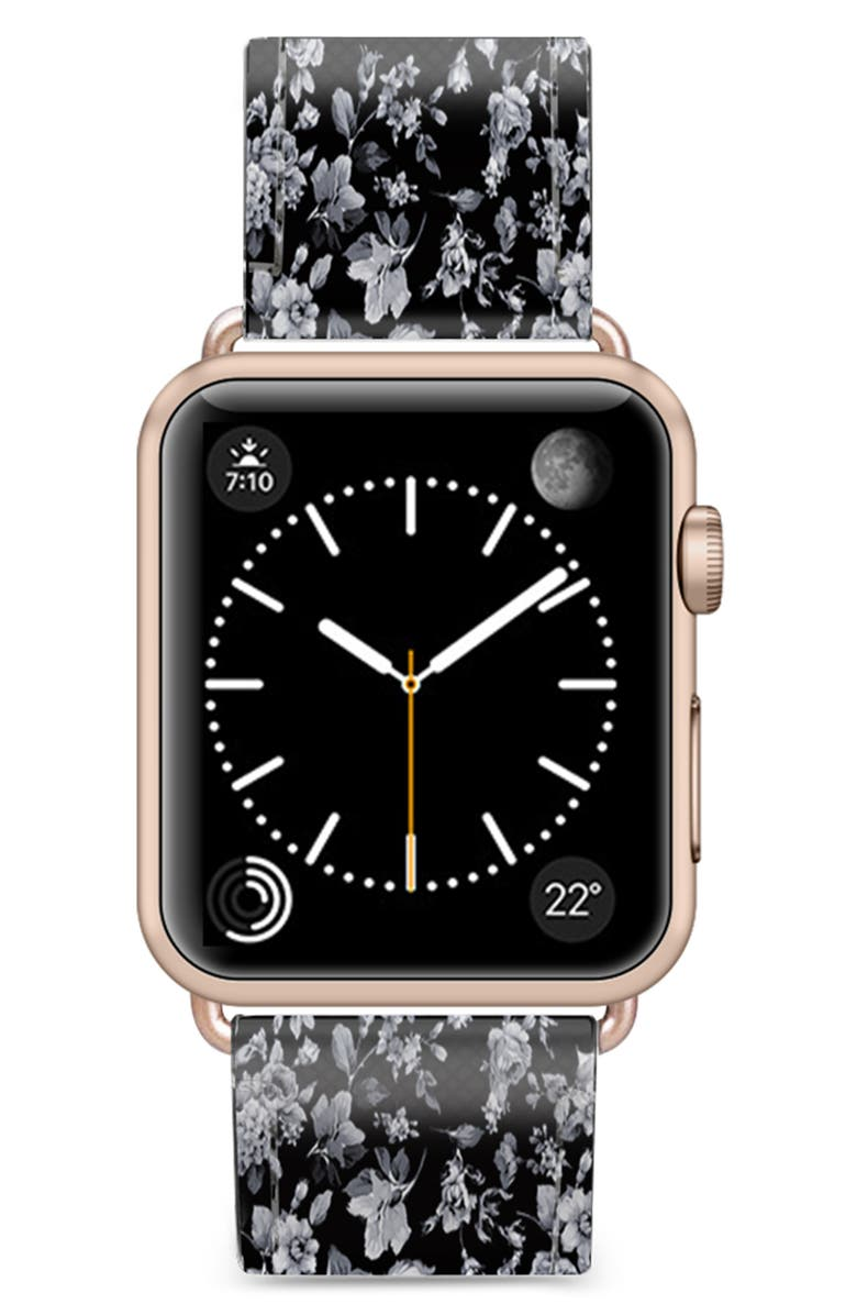 CASETIFY Vintage Flowers Saffiano Faux Leather Apple Watch<sup>®</sup> Strap, Main, color, BLACK/ ROSE GOLD