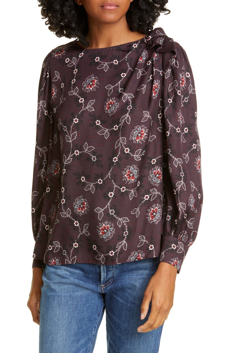 REBECCA TAYLOR Claudine Silk Blend Top, Main, color, PLUM COMBO
