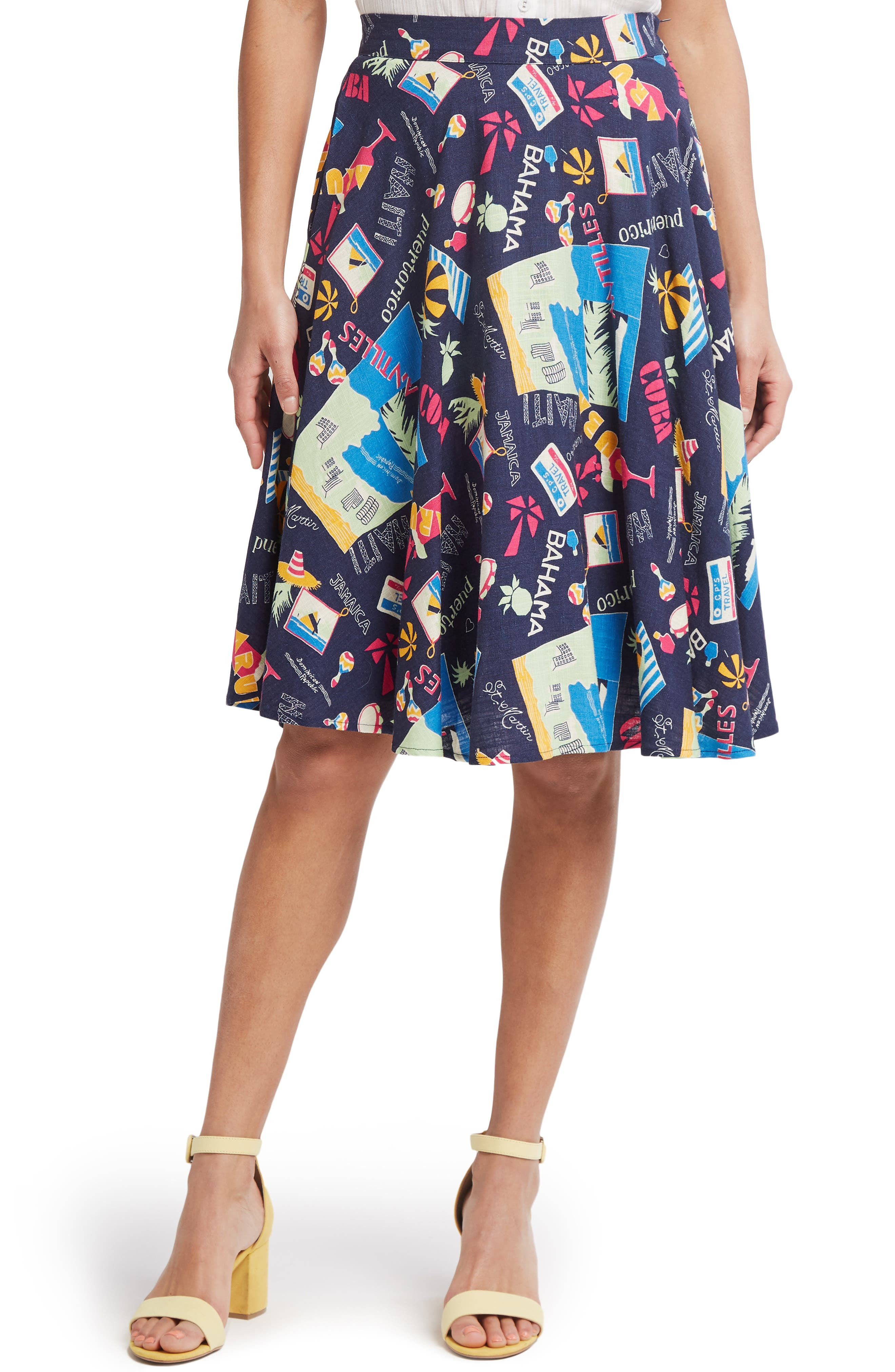 Plus Size Modcloth Just This Sway A-Line Skirt, Blue