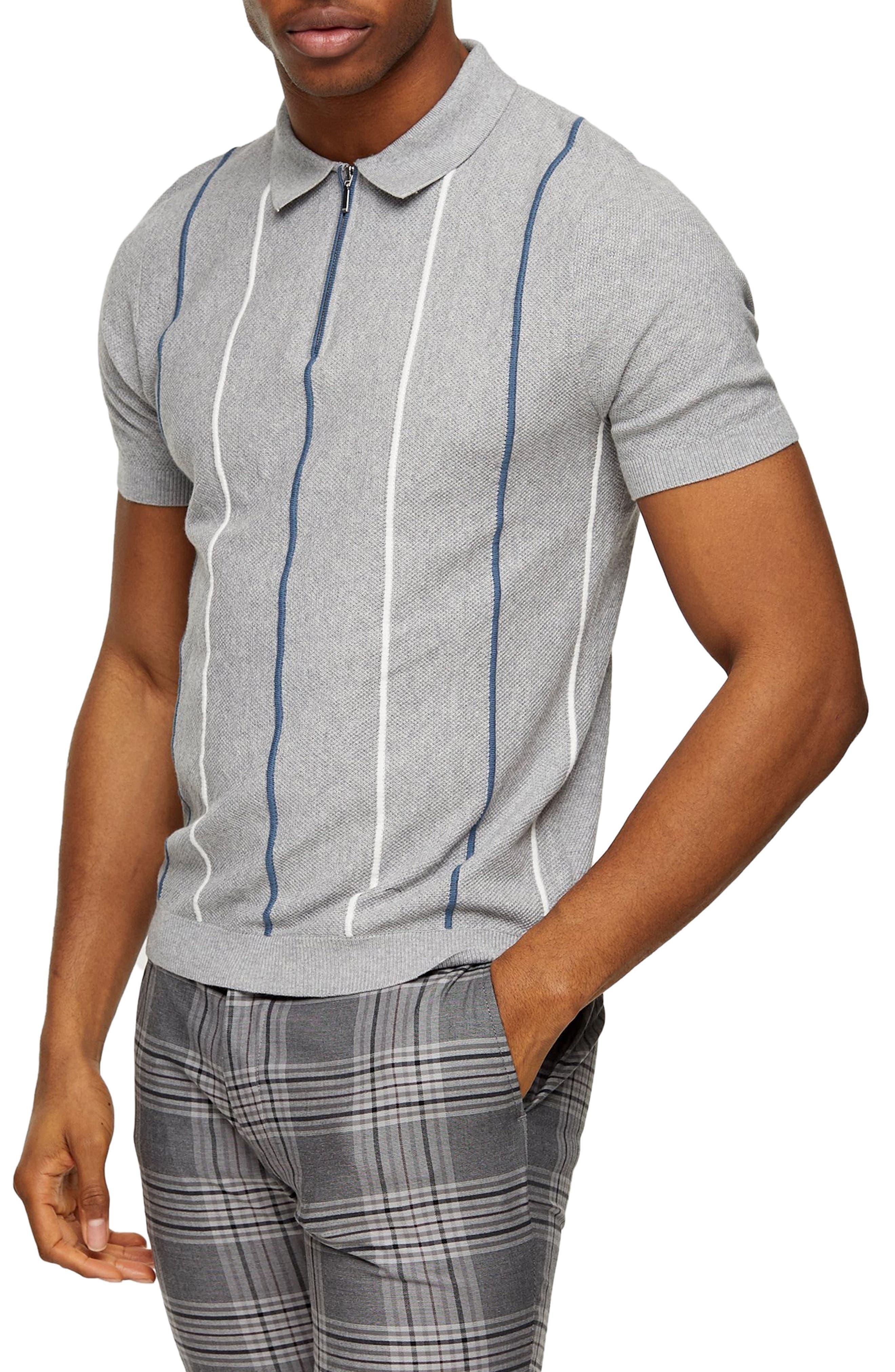 1960s Mens Shirts | 60s Mod Shirts, Hippie Shirts Mens Topman Stripe Pique Zip Polo Size XX-Large - Grey $30.00 AT vintagedancer.com