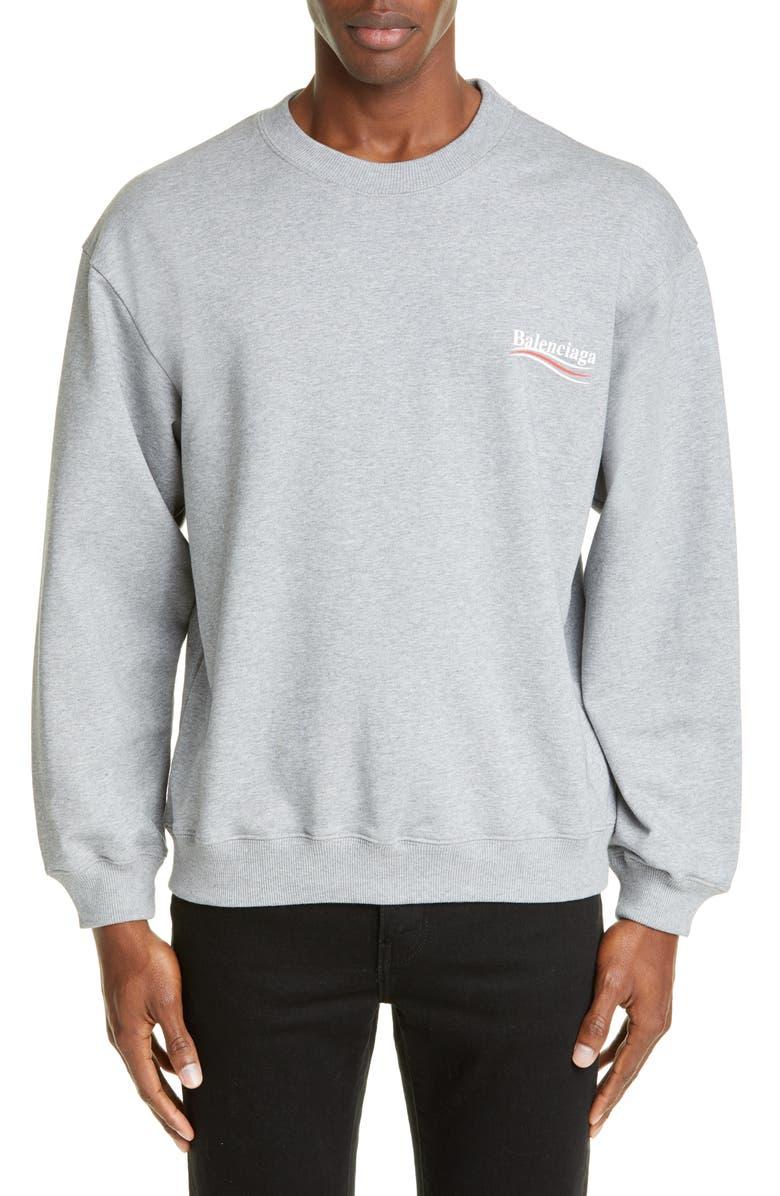 BALENCIAGA Campaign Logo Graphic Sweatshirt, Main, color, 020