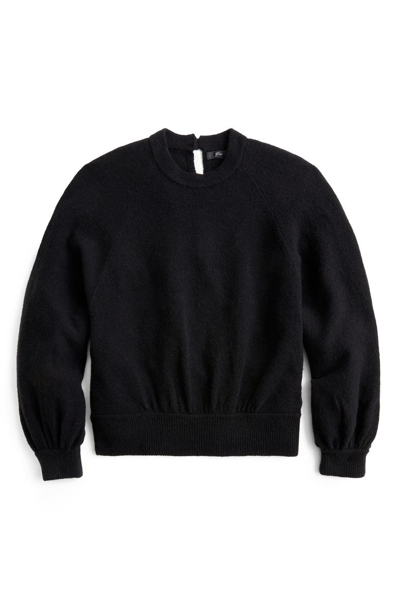 J.CREW Supersoft Gathered Crewneck Sweater, Main, color, BLACK