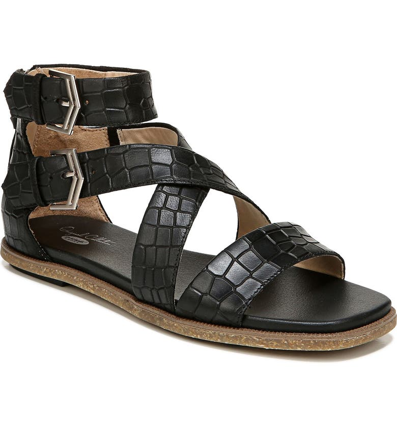 DR. SCHOLL'S Pasadena Gladiator Sandal, Main, color, BLACK LEATHER