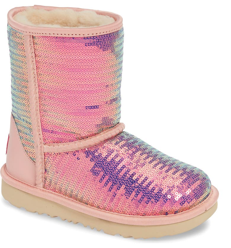 UGG<SUP>®</SUP> Classic Short II Sequin Boot, Main, color, CAMEO ROSE