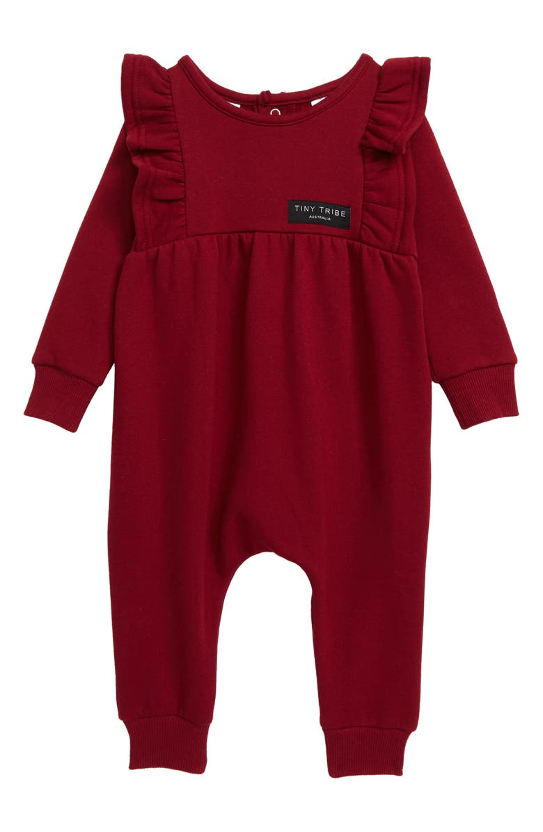 TINY TRIBE Frill Romper, Main, color, BURGUNDY
