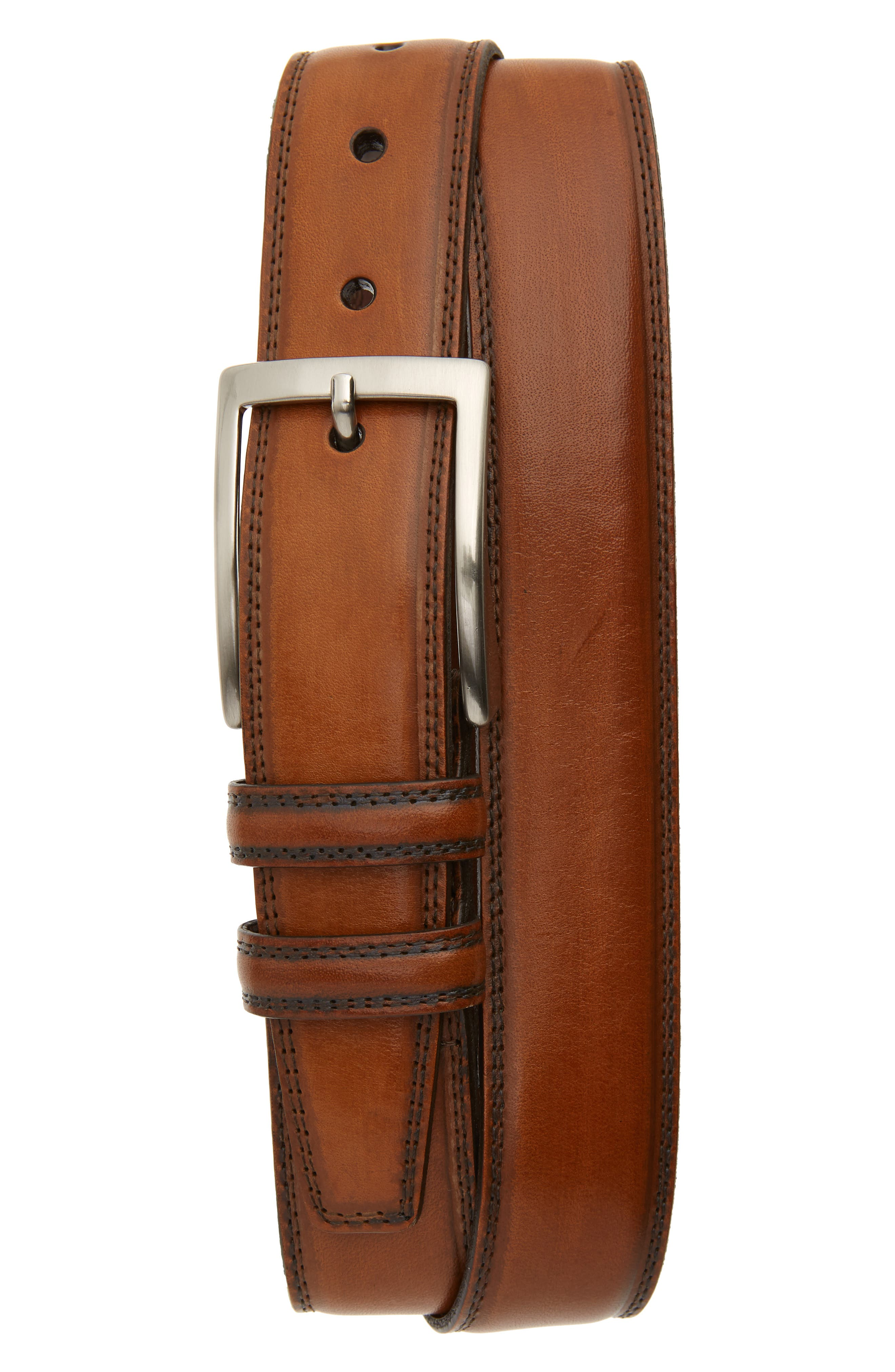 Two-tone kipskin leather elevates an American-made belt with exceptional charm. Style Name: Torino Kipskin Leather Belt. Style Number: 5758265 1. Available in stores.