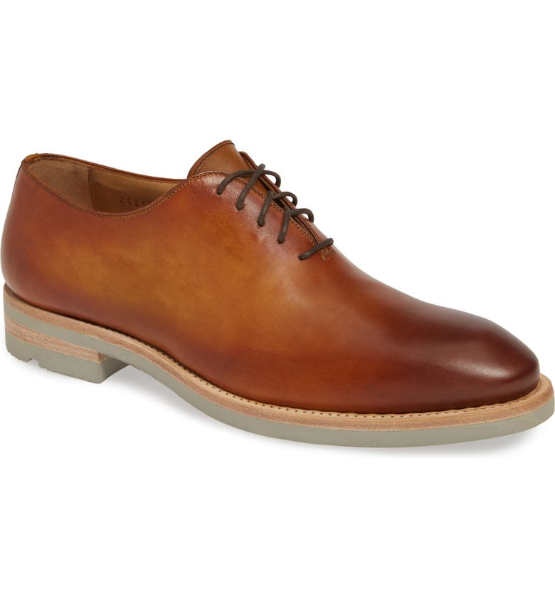 MAGNANNI Belago Wholecut Oxford, Main, color, BROWN LEATHER
