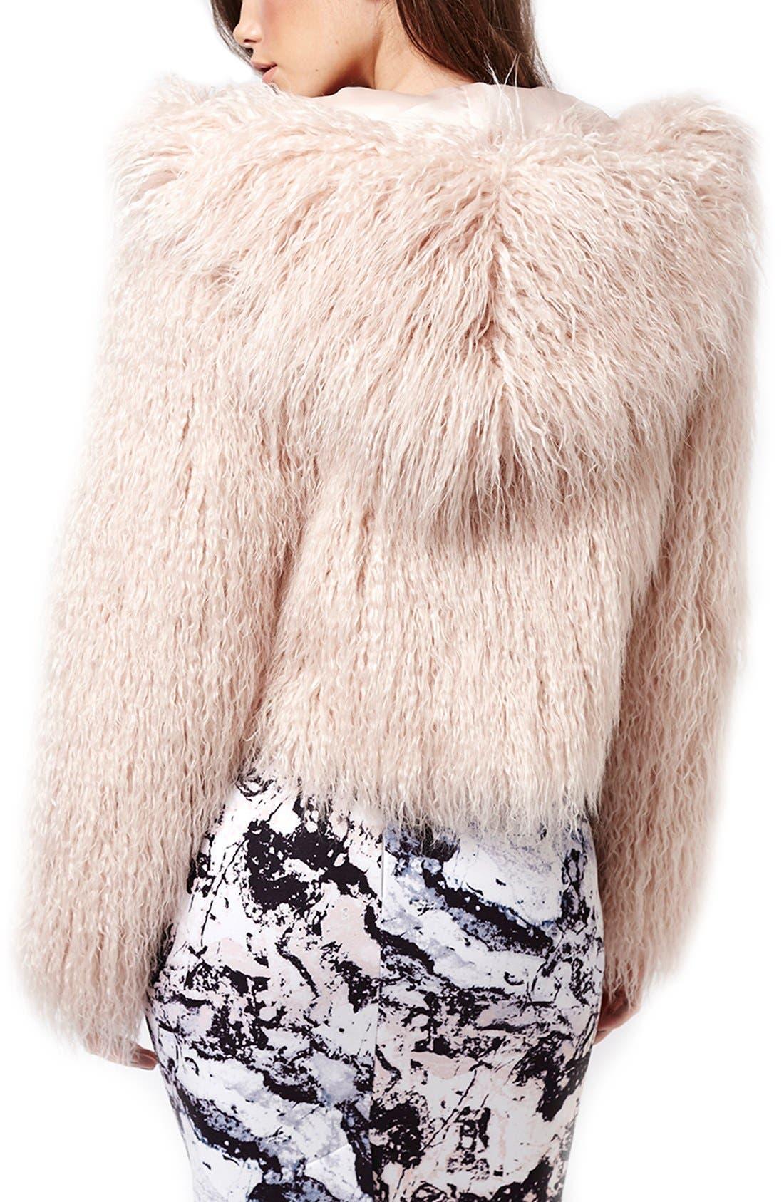 ,                             KENDALL + KYLIE at Topshop Faux Fur Coat,                             Alternate thumbnail 5, color,                             650