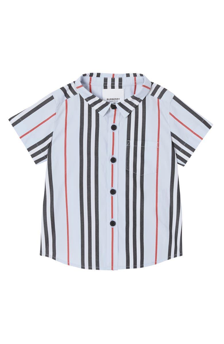 BURBERRY Fredrick Icon Stripe Shirt, Main, color, PALE BLUE