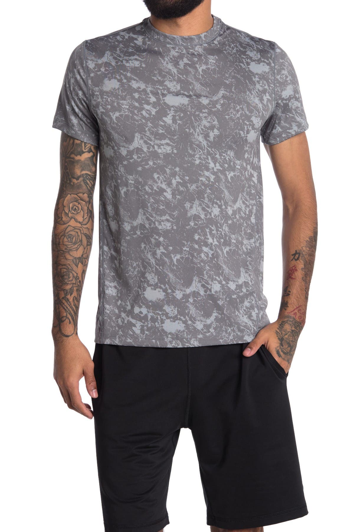 Image of Calvin Klein Move Marble Print Crew T-Shirt