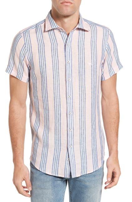 Image of RODD AND GUNN Northburn Stripe Linen Sport Shirt
