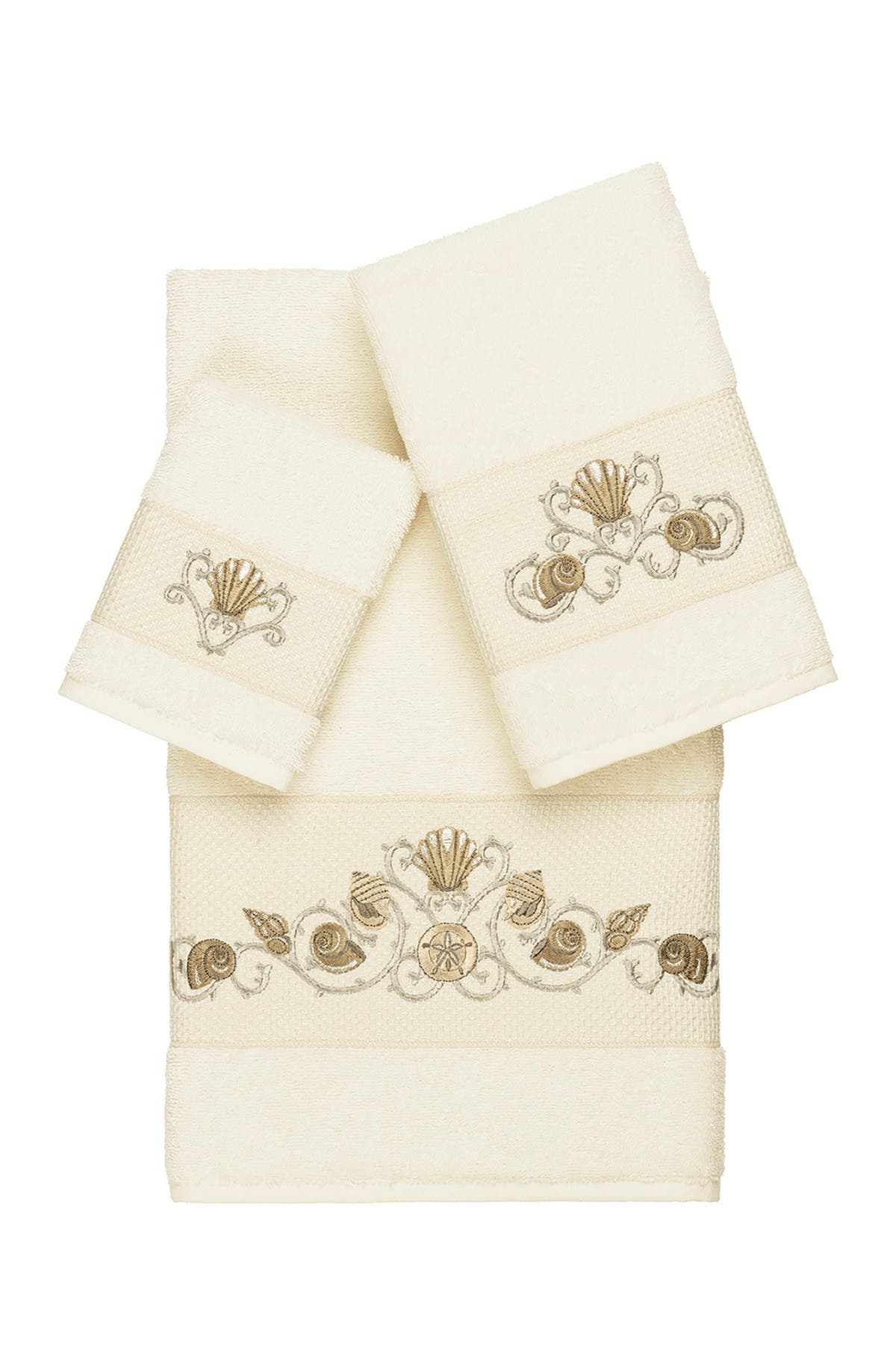 Image of LINUM HOME Bella 3-Piece Embellished Towel Set - Cream