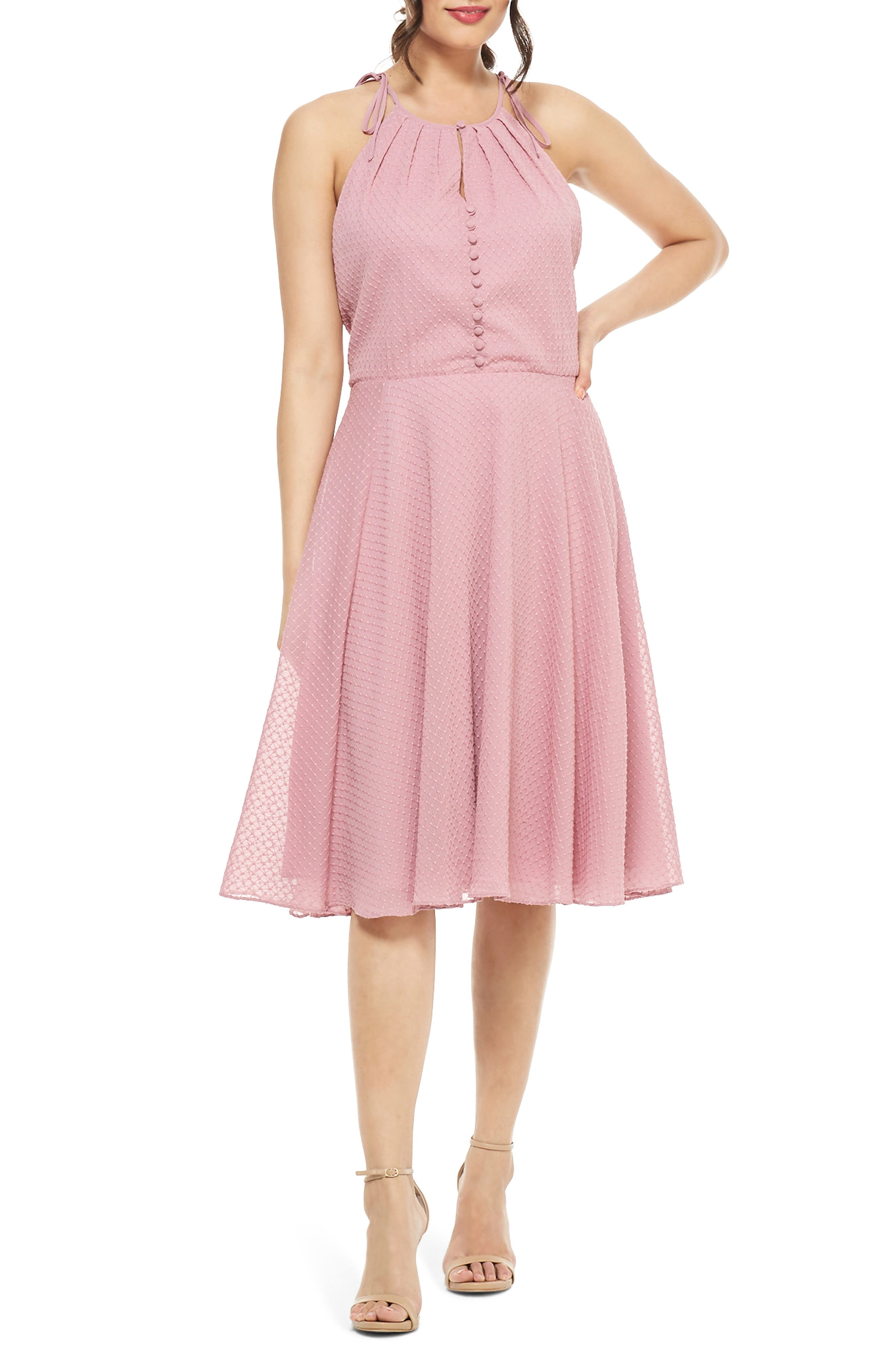 Gal Meets Glam Collection Lenore Embroidered Chiffon Dress, Purple