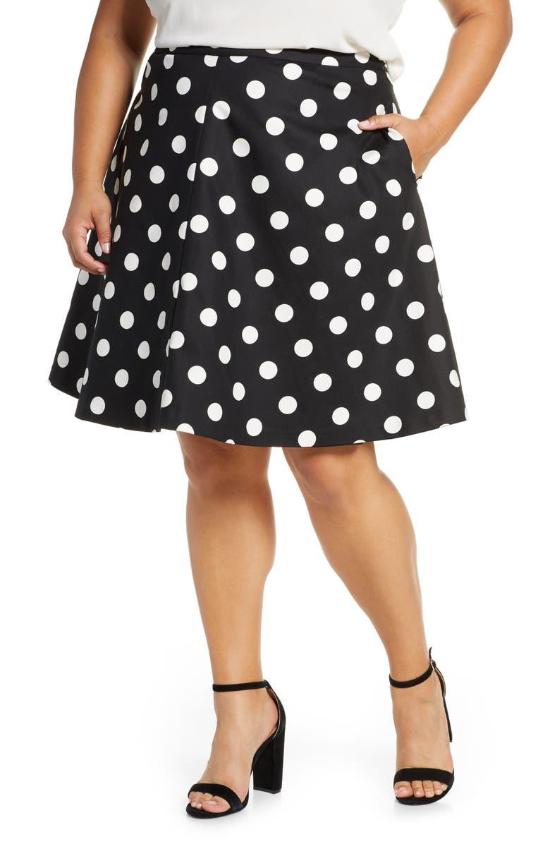 CECE Dappled Dot Skirt, Main, color, RICH BLACK