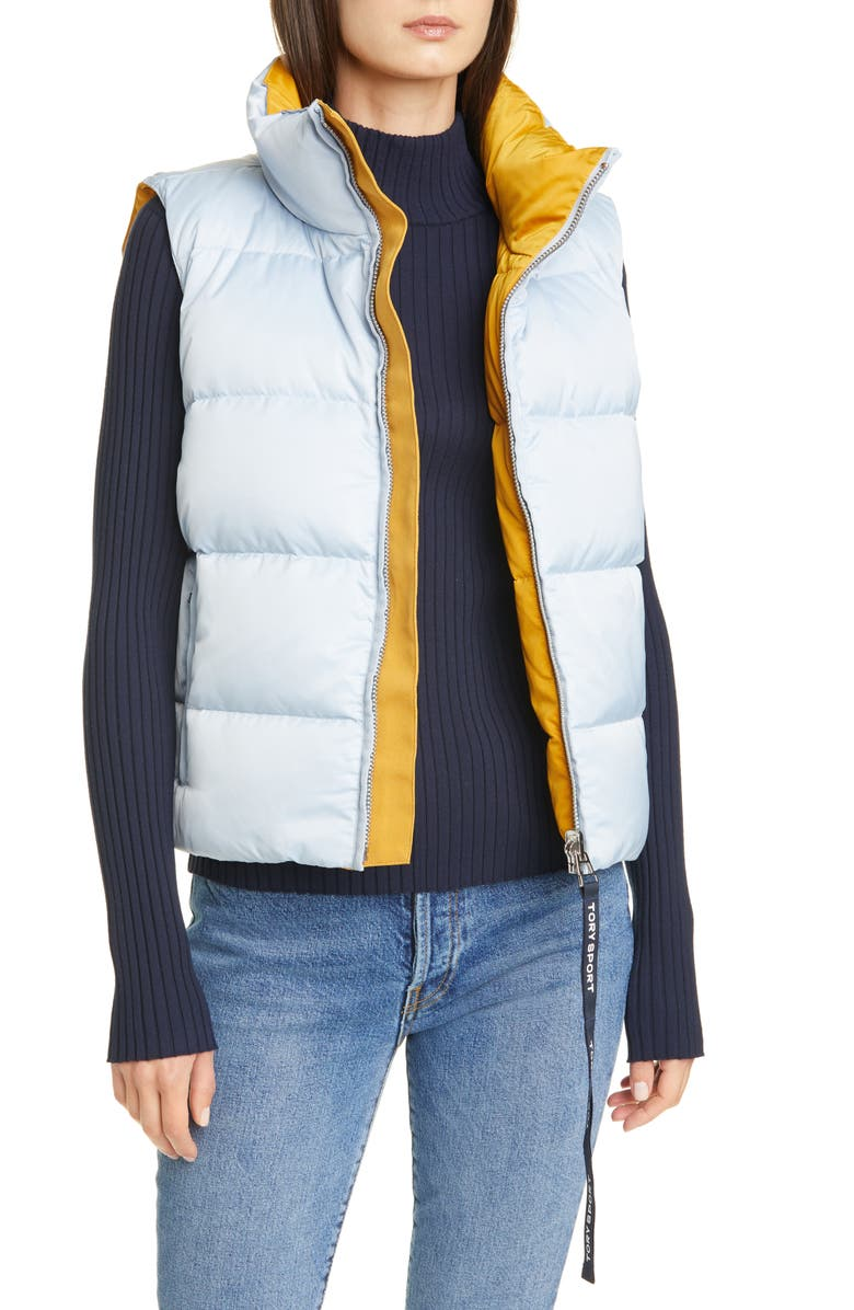 TORY SPORT BY TORY BURCH Tory Sport Performance Reversible Down Vest, Main, color, SKY / SPICED