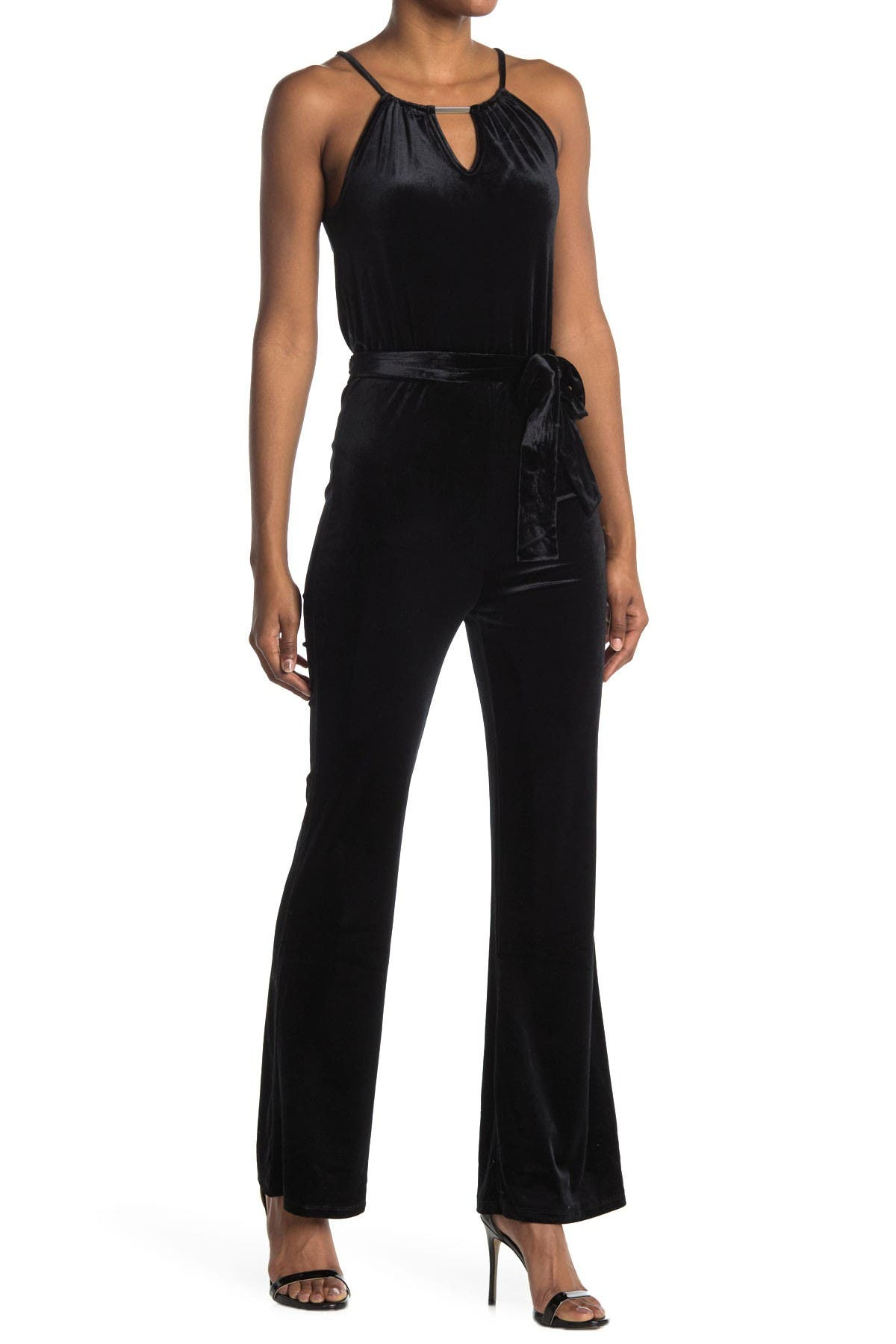 Image of Love, Fire Velvet Cutout Waist Tie Jumpsuit