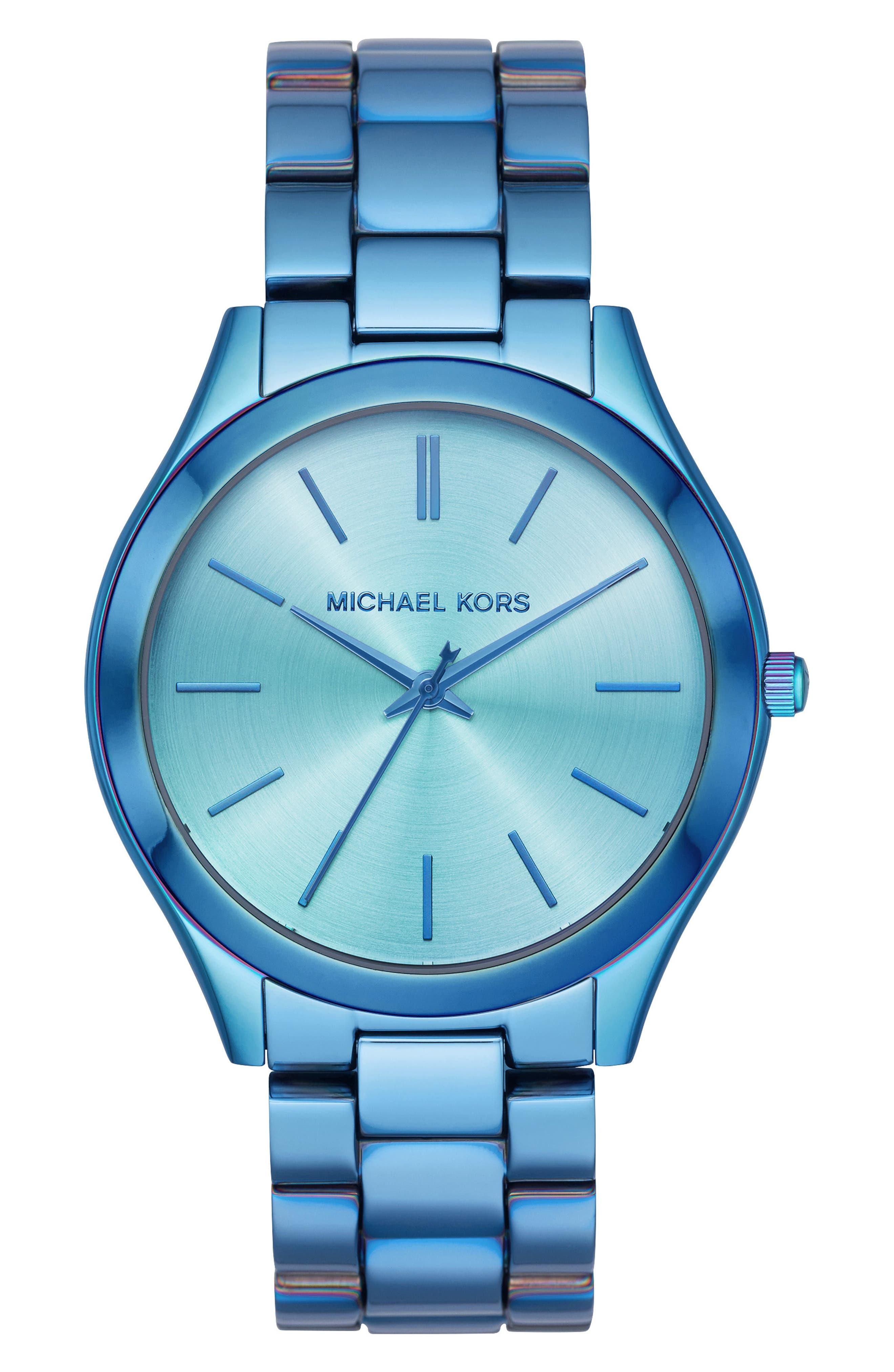 'Slim Runway' Bracelet Watch, 42mm, Main, color, IRIDESCENT BLUE