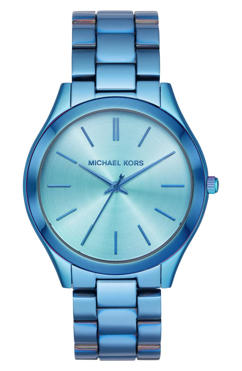 MICHAEL KORS 'Slim Runway' Bracelet Watch, 42mm, Main, color, IRIDESCENT BLUE
