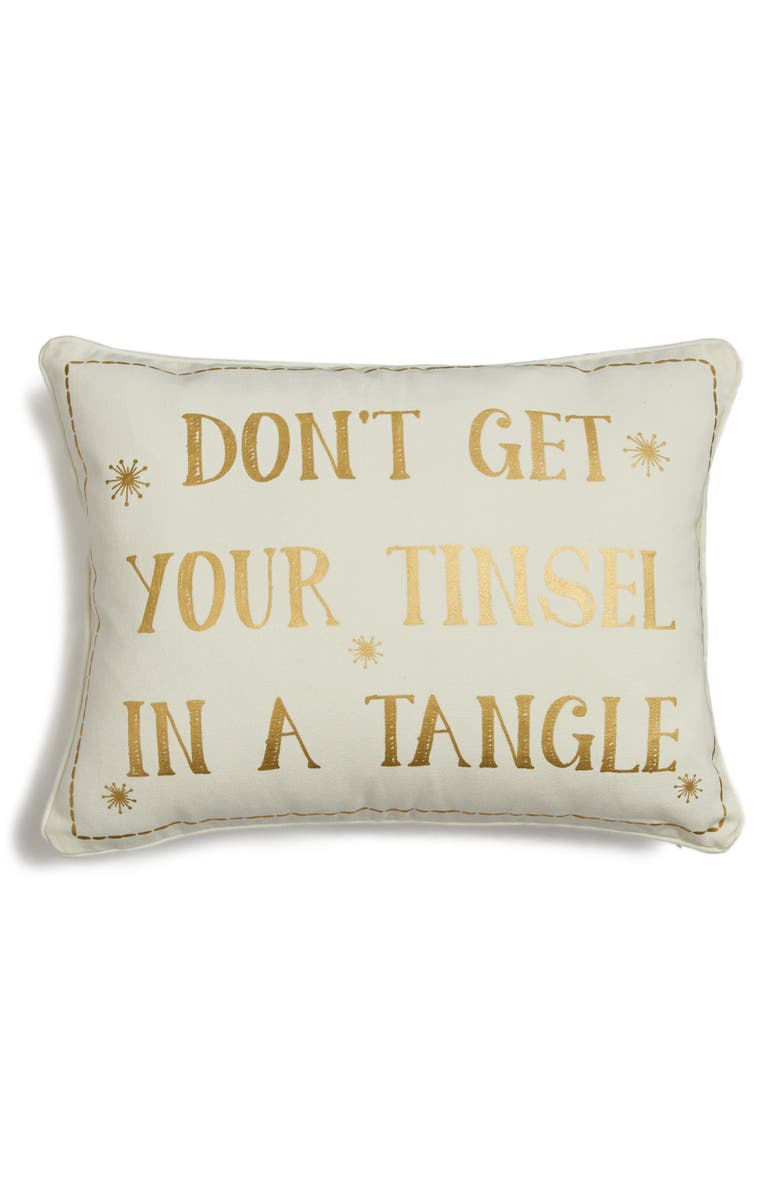 LEVTEX Don't Get Your Tinsel in a Tangle Accent Pillow, Main, color, 100