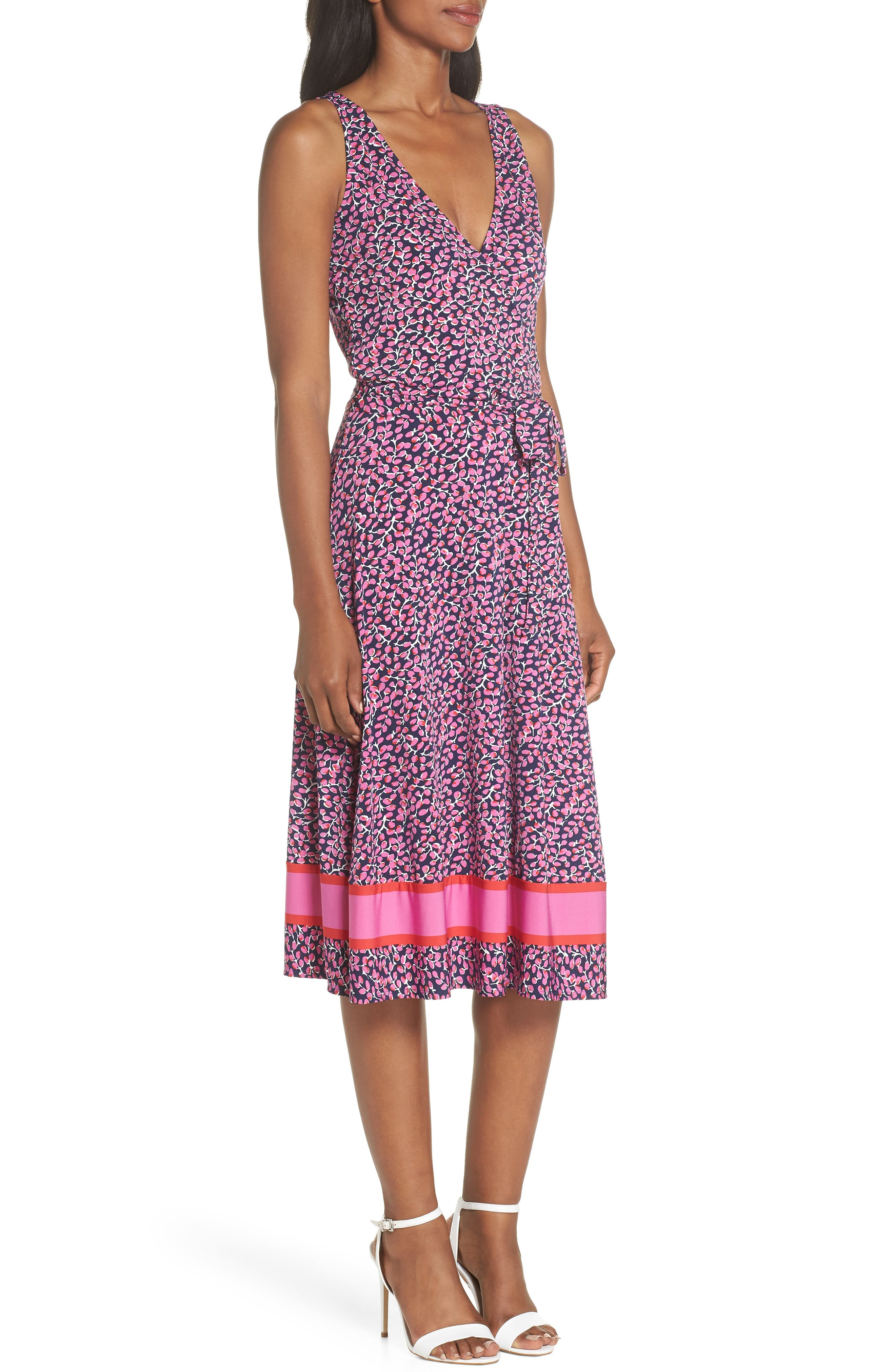 ,                             Justine Border Print Wrap Dress,                             Alternate thumbnail 10, color,                             665