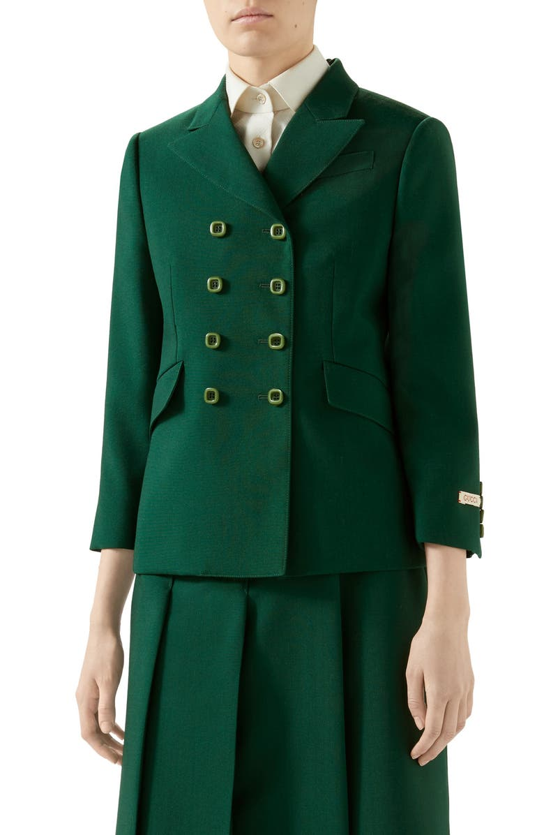 GUCCI Double Breasted Wool Jacket, Main, color, BASIL LEAF