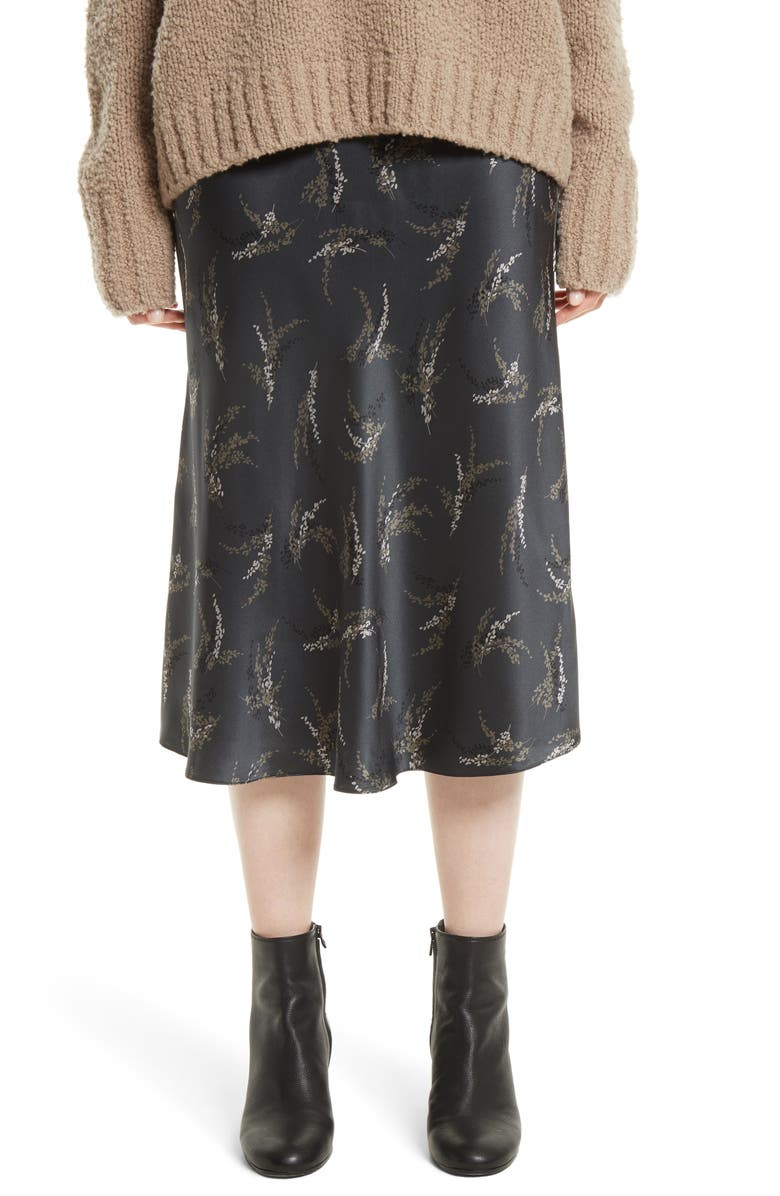 VINCE Spring Floral Pull-On Silk Midi Skirt, Main, color, 021
