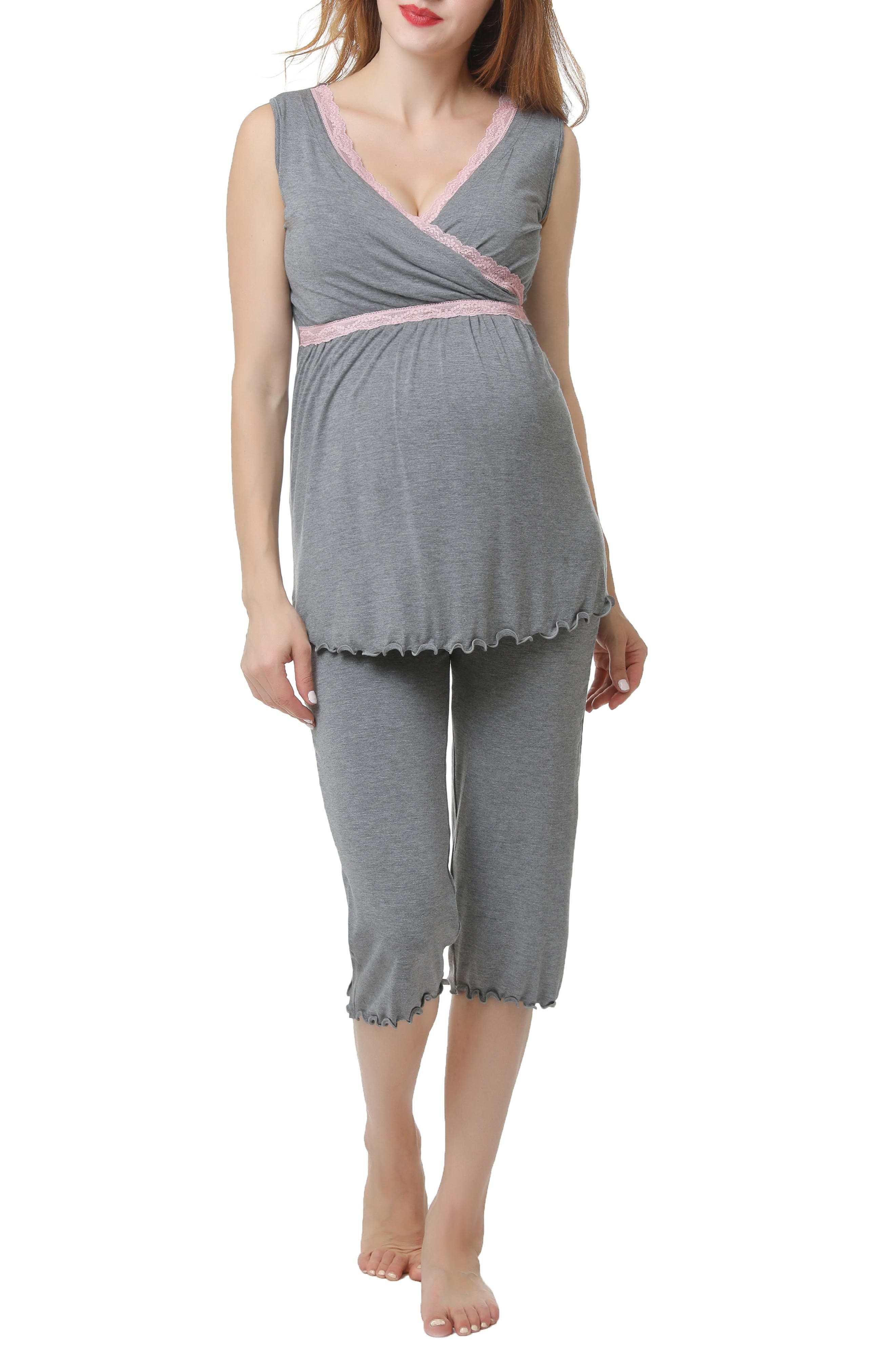 A supersoft pajama top is designed to adapt to your changing body during and after pregnancy with a flattering surplice neckline and Empire waist. A hidden layer along the neck can be pulled aside for easy and discreet nursing. Comfy capri-length pants complete the set. Style Name: Kimi And Kai Penny Nursing/maternity Pajamas. Style Number: 5719639. Available in stores.