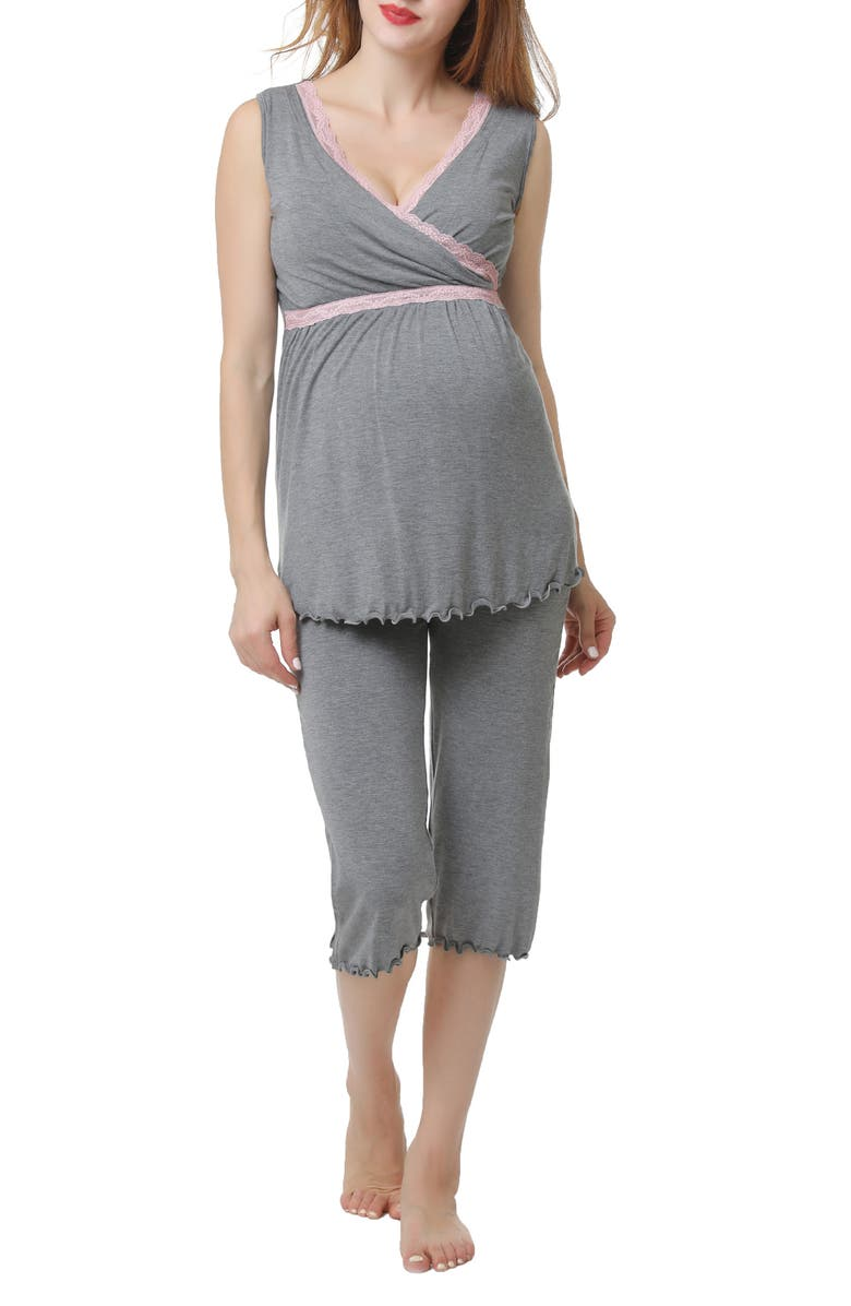 KIMI AND KAI Penny Nursing/Maternity Pajamas, Main, color, DARK HEATHER GRAY
