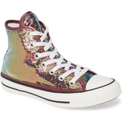 Converse Chuck Taylor All Star Sequin High Top Sneaker, Pink