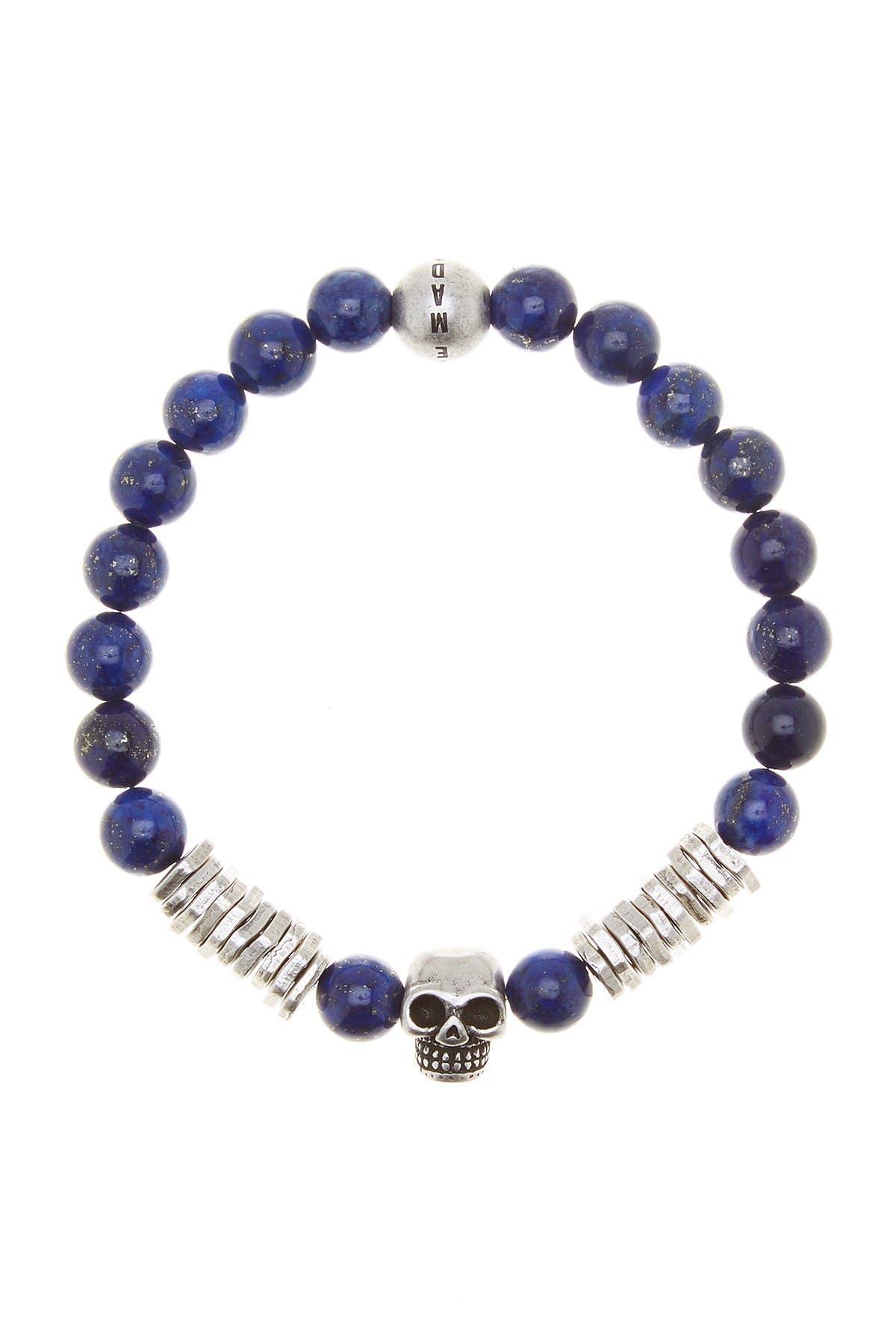 Image of Steve Madden Lapis & Skull Bead Stretch Bracelet