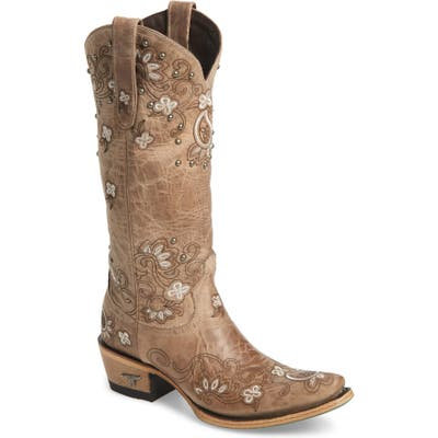 Lane Boots Sweet Paisley Embroidered Western Boot- Grey