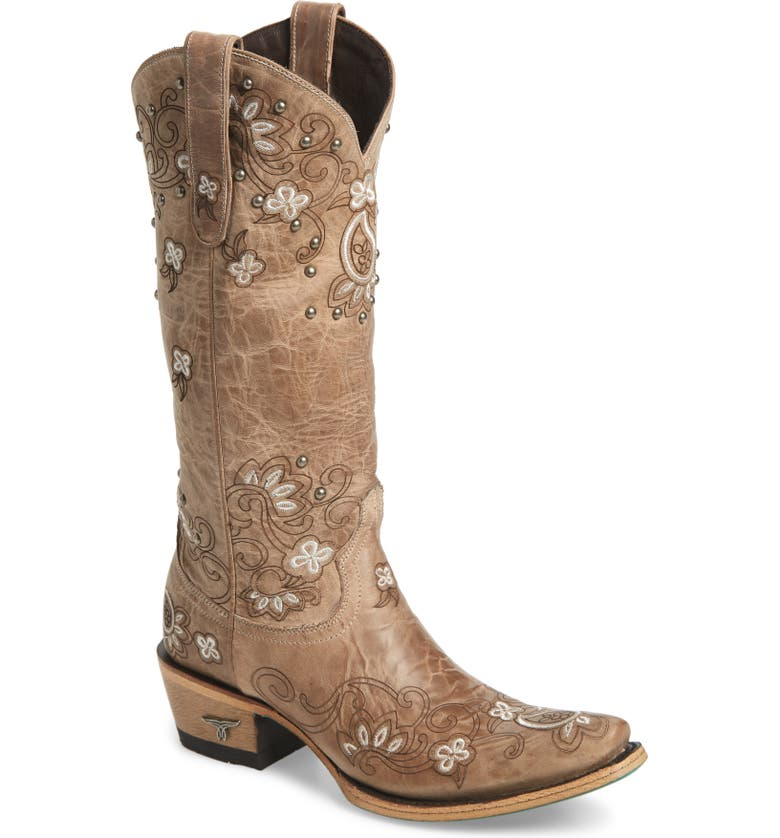 LANE BOOTS Sweet Paisley Embroidered Western Boot, Main, color, BONE LEATHER