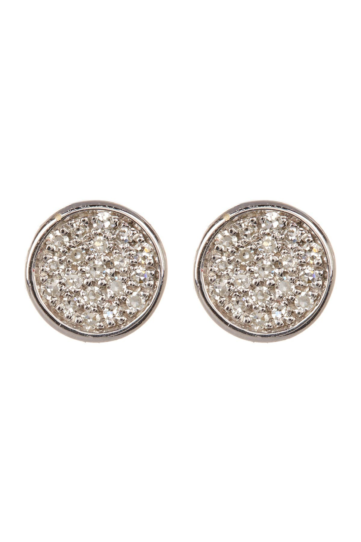 Image of Carriere Sterling Silver Pave Diamond Disc Stud Earrings - 0.11 ctw