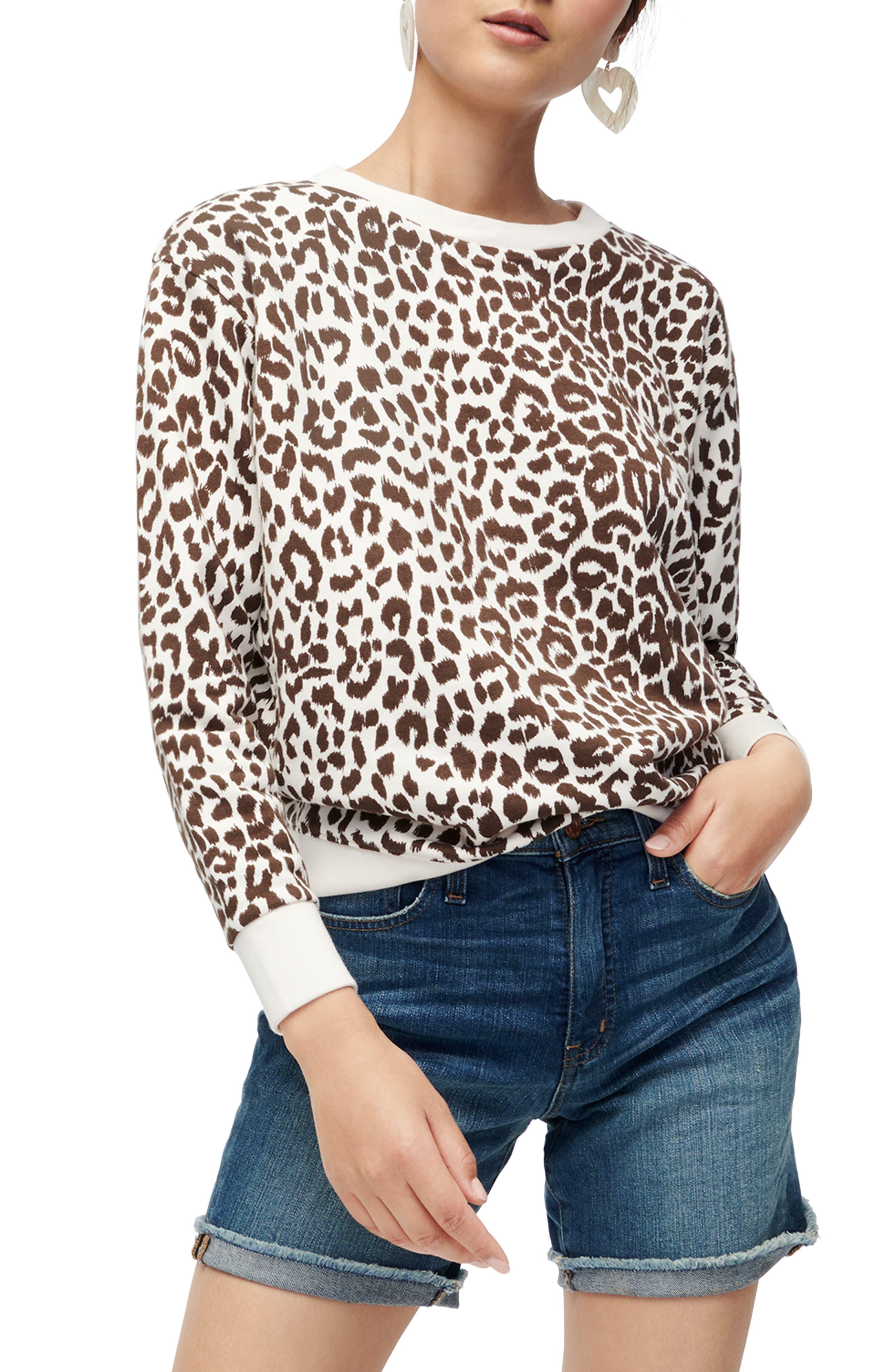 J.Crew Leopard Cotton Crewneck Sweatshirt