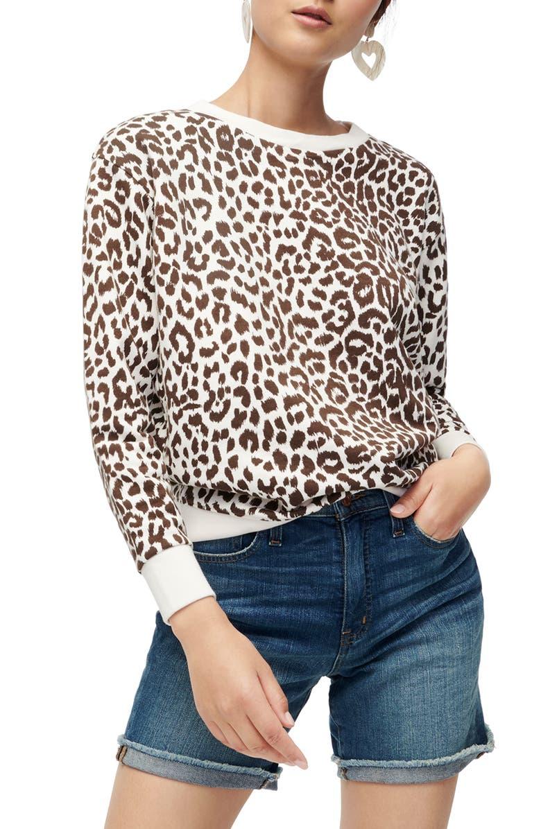 J.CREW Leopard Cotton Crewneck Sweatshirt, Main, color, LANA LEOPARD DUSTY TAUPE