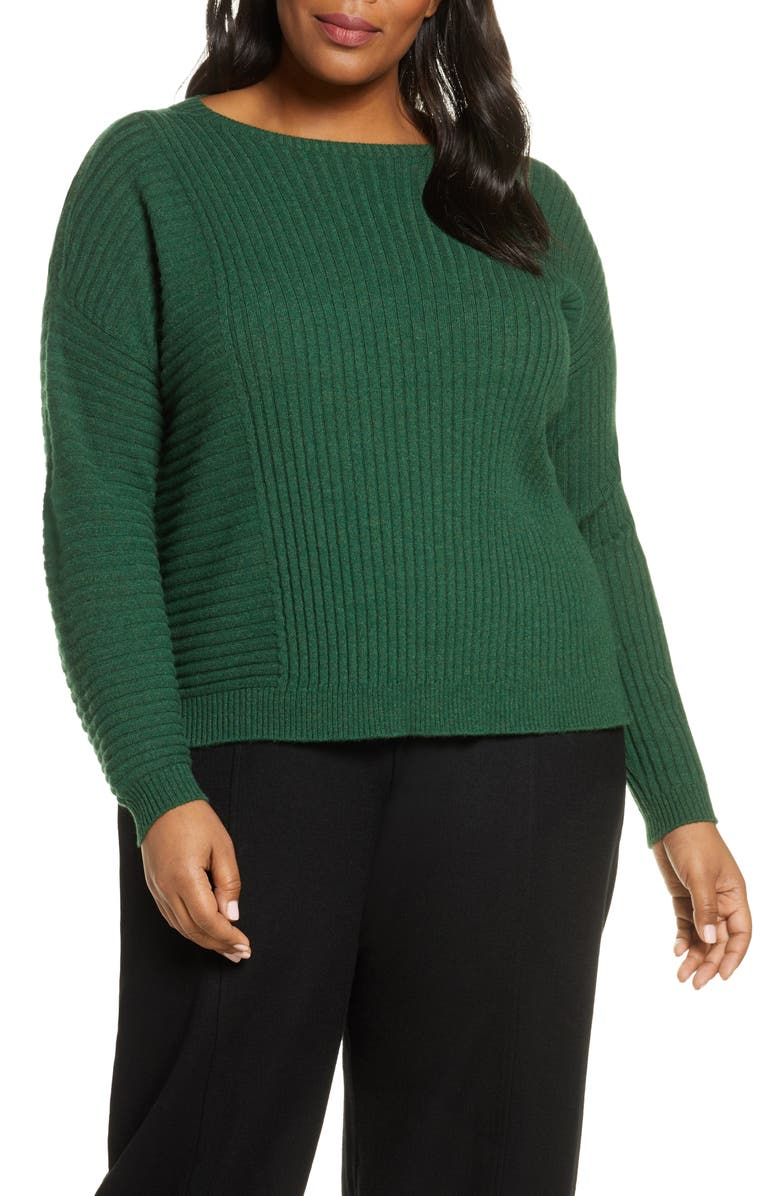 EILEEN FISHER Mix Rib Cashmere Sweater, Main, color, DEEP HEMLOCK
