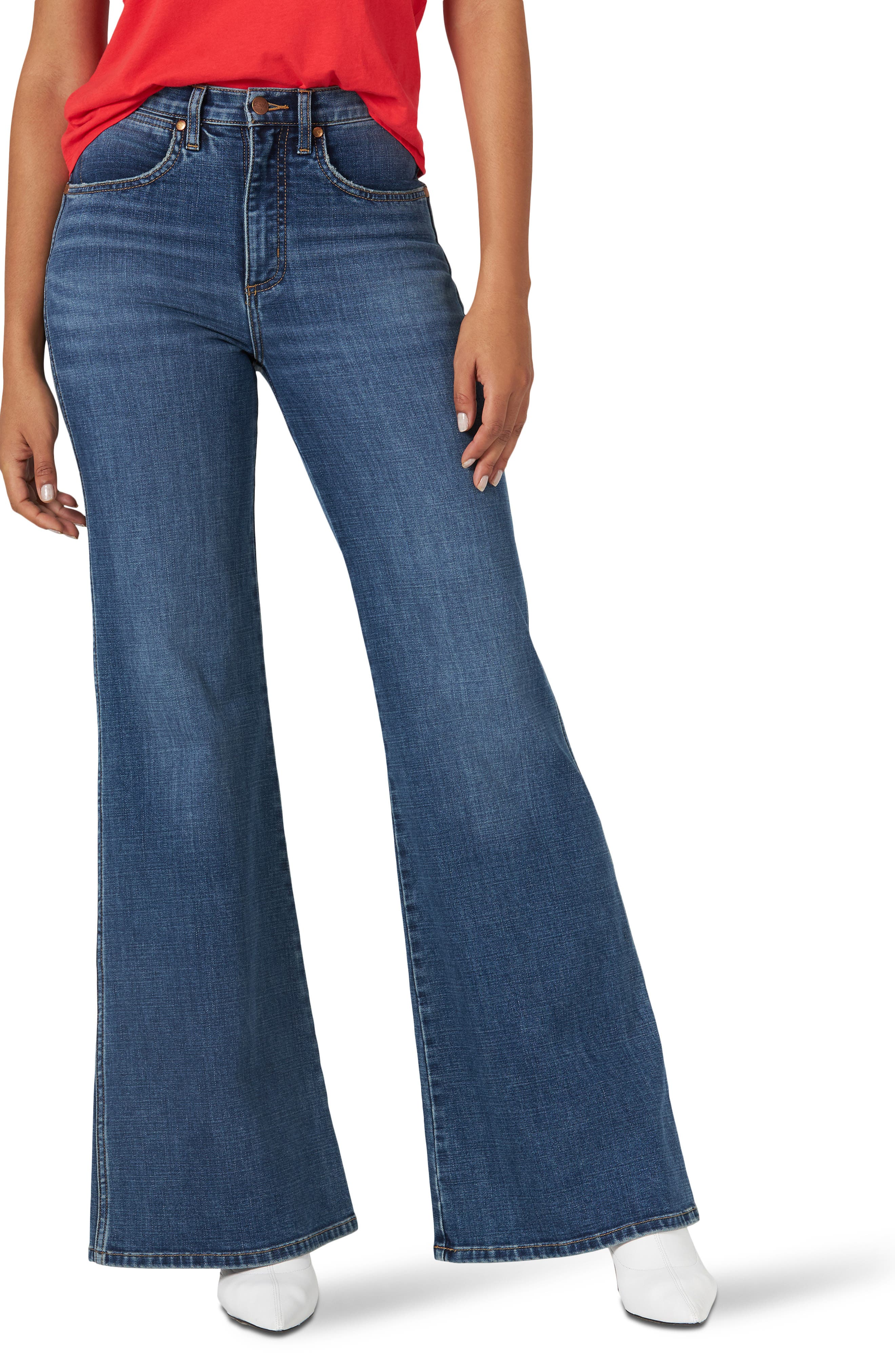 60s – 70s Pants, Jeans, Hippie, Bell Bottoms, Jumpsuits Womens Wrangler Fly High Waist Flare Jeans $128.00 AT vintagedancer.com