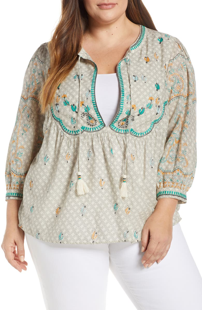 LUCKY BRAND Evelyn Embroidered Peasant Top, Main, color, 300