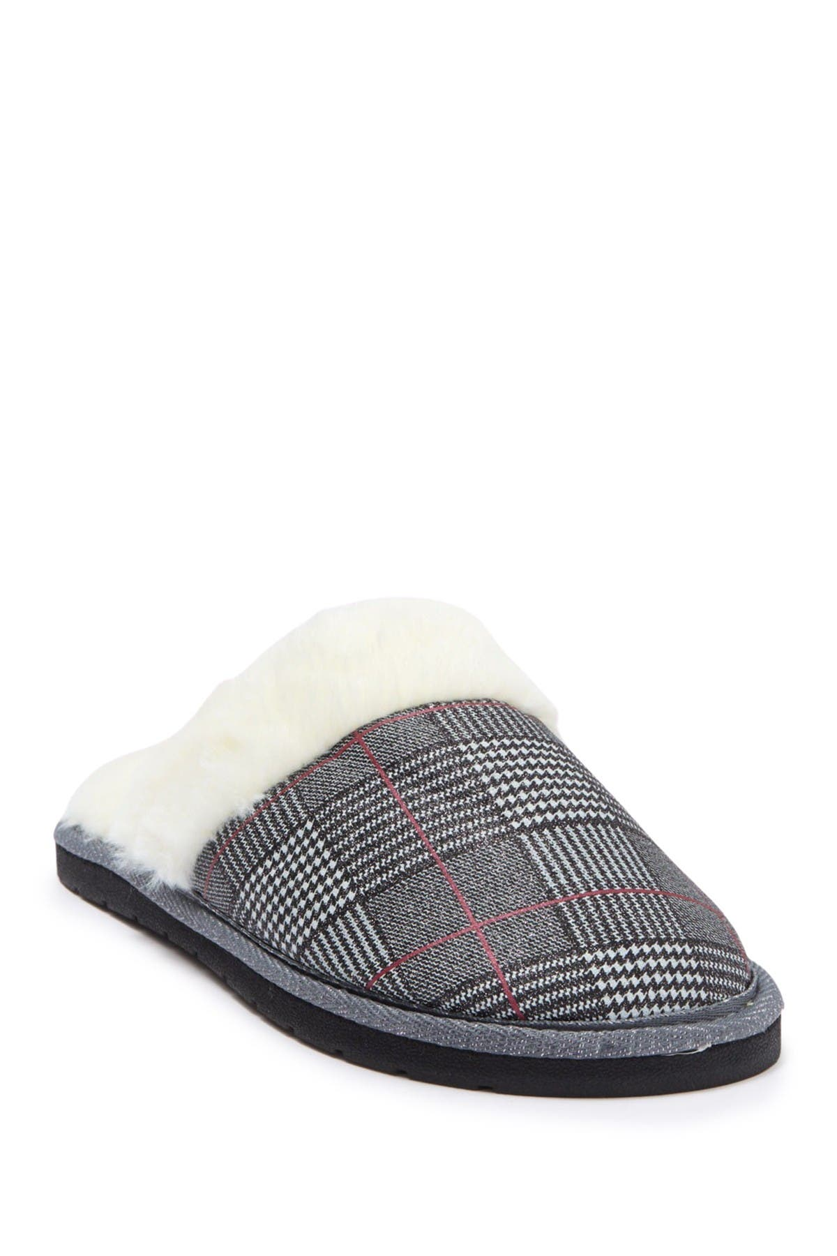 Image of Kensie Glitter Plaid Faux Fur Slipper