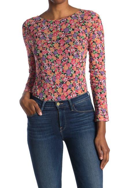 Image of WAYF Floral Print Scoop Back Bodysuit