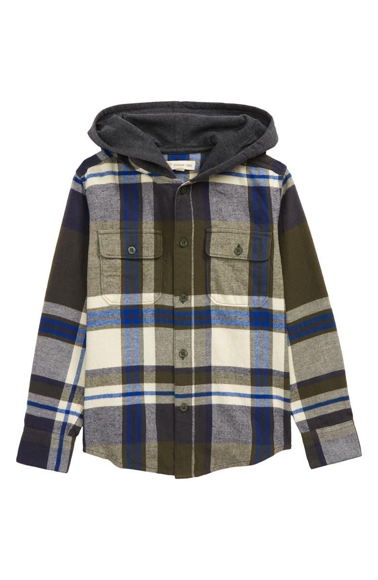 TUCKER + TATE Kids' Hooded Button-Up Shirt, Main, color, OLIVE SARMA POP PLAID
