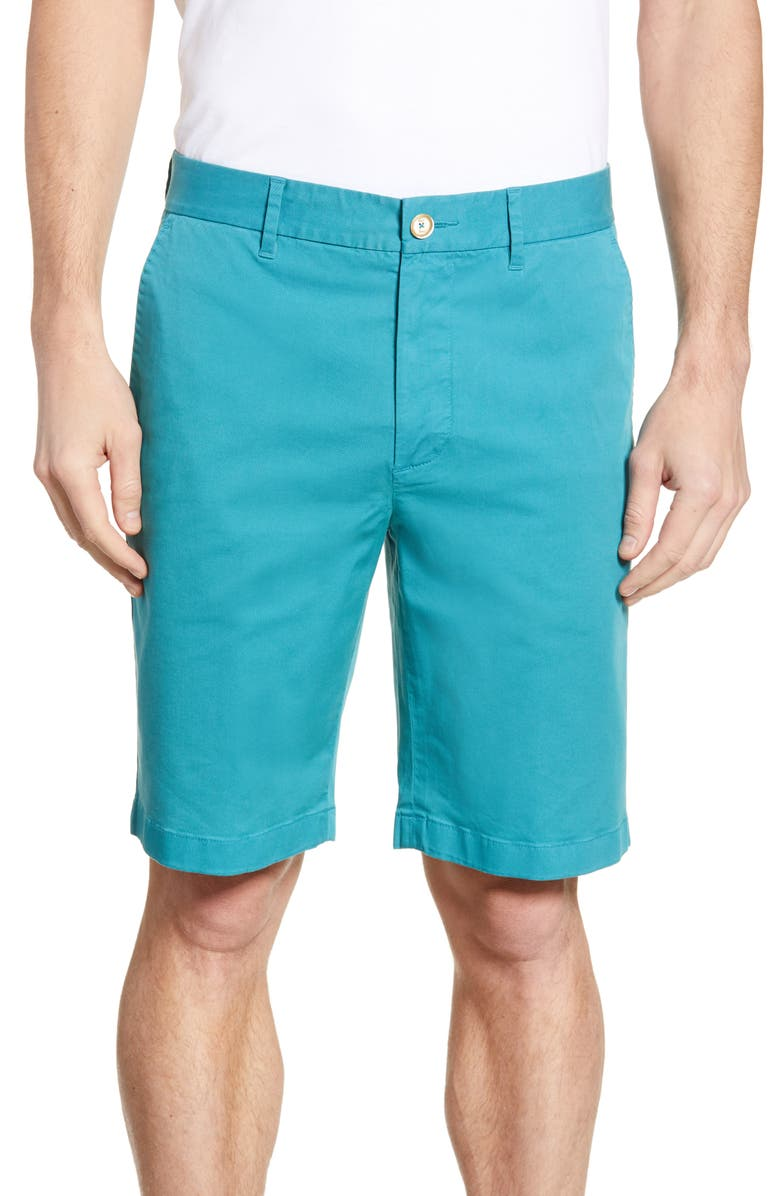 ROBERT GRAHAM Aldrich Chino Shorts, Main, color, TEAL