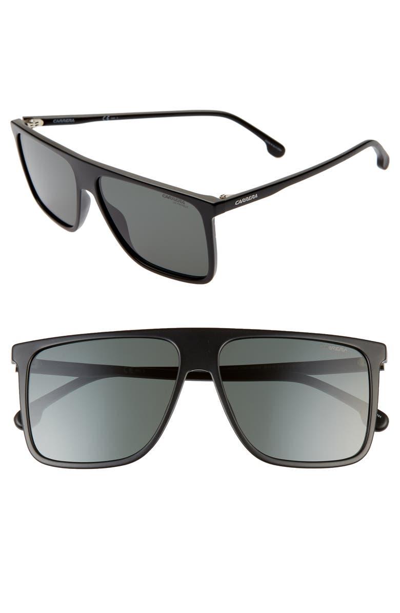 CARRERA EYEWEAR 58mm Rectangle Sunglasses, Main, color, MATTE BLACK
